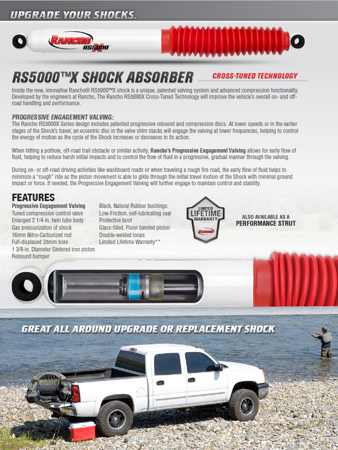 Rancho RS5000X Gas Shocks Rear Pair for 2006-2010 Hummer H3 4WD